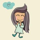 Милый характер вектора шаржа маленькой девочки Стоковая Фотография