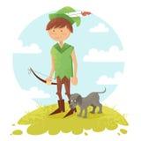 Милый характер мальчика Робина Гуда шаржа Стоковое Изображение