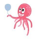 Милый характер осьминога пинка шаржа держа воздушный шар, смешную иллюстрацию вектора кораллового рифа океана животную Стоковые Изображения
