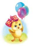 Милый цыпленок с шариками иллюстрация Стоковые Фото