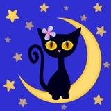 Милый черный котенок на луне иллюстрация штока