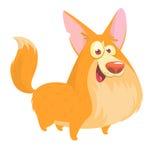Милый чертеж вектора шаржа головы собаки породы Corgi Welsh Изображение изолированное на белизне иллюстрация вектора