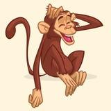 Милый чертеж шаржа усаживания обезьяны Vector иллюстрация шимпанзе протягивая его голову и усмехаясь при закрытые глаза стоковые изображения rf