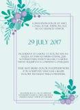Милый шаблон карточки приглашения свадьбы с нарисованными вручную флористическими элементами и ветвями Стильный простой дизайн ве Стоковое фото RF