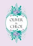 Милый шаблон карточки приглашения свадьбы с нарисованными вручную флористическими элементами и ветвями Стильный простой дизайн ве Стоковая Фотография
