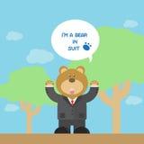 Милый шарж бурого медведя в костюме Стоковое Изображение