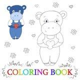 Милый шарж гиппопотама с иллюстрацией сердца Цвет и контур, книжка-раскраска Стоковые Фото