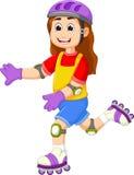 Милый шарж девушки играя коньки ролика иллюстрация вектора