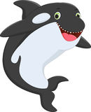 Милый шарж дельфин-касатки иллюстрация штока