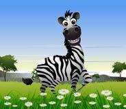 Милый шарж зебры с предпосылкой природы иллюстрация штока