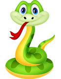 Милый шарж зеленой змейки Стоковое Изображение