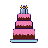 Милый шарж именниного пирога бесплатная иллюстрация