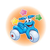 Милый шарж и звезды трицикла Стоковые Изображения RF
