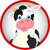 Милый шарж коровы thumbs вверх Стоковые Фото