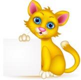 Милый шарж кота с пустым знаком бесплатная иллюстрация