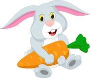 Милый шарж кролика держа морковь Стоковые Фотографии RF
