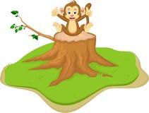 Милый шарж обезьяны сидя на пне дерева иллюстрация вектора