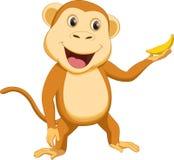 Милый шарж обезьяны с бананом Стоковое Изображение