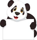 Милый шарж панды держа пустой знак Стоковое Изображение RF