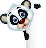Милый шарж панды представляя с пустым знаком бесплатная иллюстрация