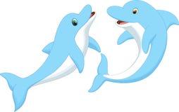 Милый шарж пар дельфина Стоковое фото RF