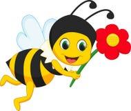 Милый шарж пчелы с красным цветком Стоковые Фотографии RF