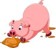 Милый шарж свиньи Стоковые Изображения
