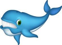 Милый шарж синего кита бесплатная иллюстрация