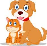 Милый шарж собаки и кошки Стоковое Изображение