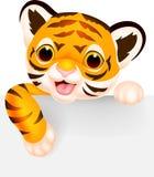 Милый шарж тигра с пустым знаком иллюстрация штока