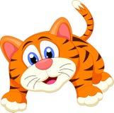 Милый шарж тигра стоковое изображение rf