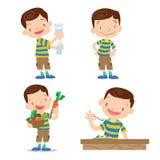 Милый шарж характера мальчика много действие Стоковое Изображение RF