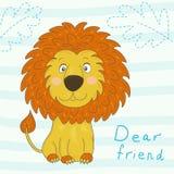 Милый шарж льва, иллюстрация вектора Стоковые Изображения RF