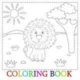 Милый шарж льва с иллюстрацией сердца Цвет и контур, книжка-раскраска Стоковое Фото