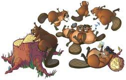 Милый шарж Beavers искусство зажима шаржа вектора партии Стоковое Изображение