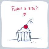 Милый эскиз сдержанного пирожного, дизайн карточки валентинки Стоковые Изображения