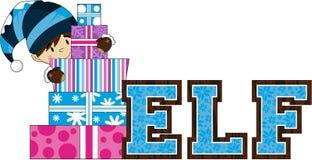 Милый эльф рождества с подарками Стоковые Изображения