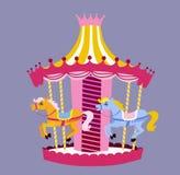 Милый carousel с лошадями также вектор иллюстрации притяжки corel Стоковые Изображения RF