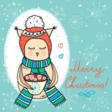 Милый owlet для вашего дизайна зимы Стоковые Фотографии RF