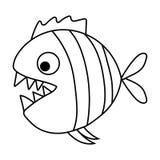 Милый piranha шаржа с острыми зубами Стоковая Фотография RF