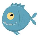 Милый piranha шаржа с острыми зубами Стоковые Изображения