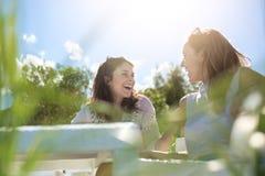 2 милых девушки сидя на кафе ставят говорить и смеяться над на обсуждение Стоковые Фотографии RF