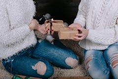 2 милых девушки с подарками для рождества Стоковое Изображение RF