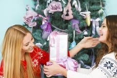 2 милых девушки лучших другов раскрывая подарки на рождество приближают к th Стоковые Изображения