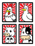 4 милых животных характера в рамке Стоковое фото RF