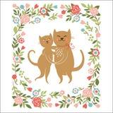 2 милых кота иллюстрация вектора
