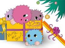 4 милых красочных изверга в рождественской елке подарочной коробки Стоковые Изображения