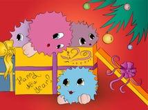 4 милых красочных изверга в рождественской елке подарочной коробки Стоковые Фотографии RF