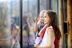 2 милых маленьких сестры наблюдая животных в зоопарке на теплый и солнечный летний день Стоковые Изображения RF