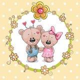 2 милых медведя шаржа иллюстрация вектора